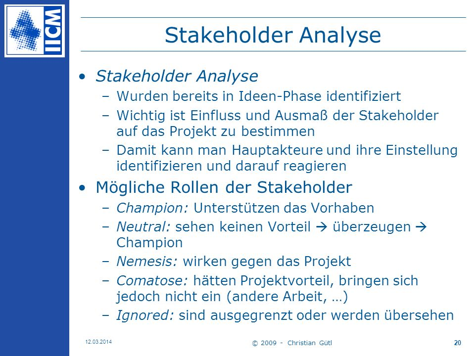 Stakeholder Analyse Stakeholder Analyse