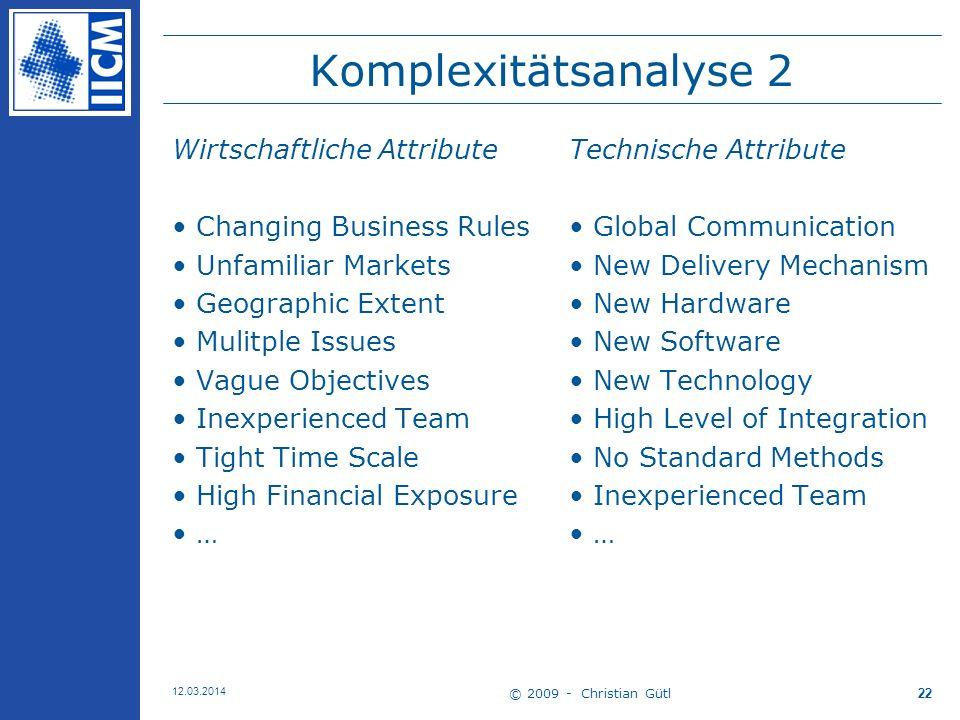 Komplexitätsanalyse 2 Wirtschaftliche Attribute
