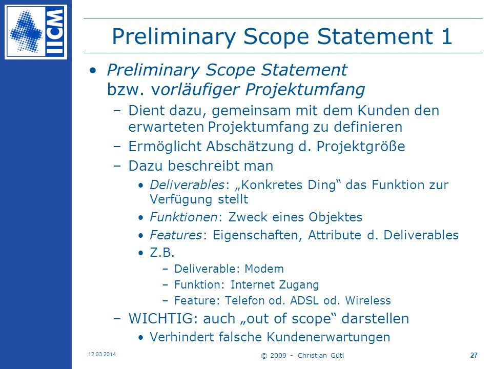 Preliminary Scope Statement 1