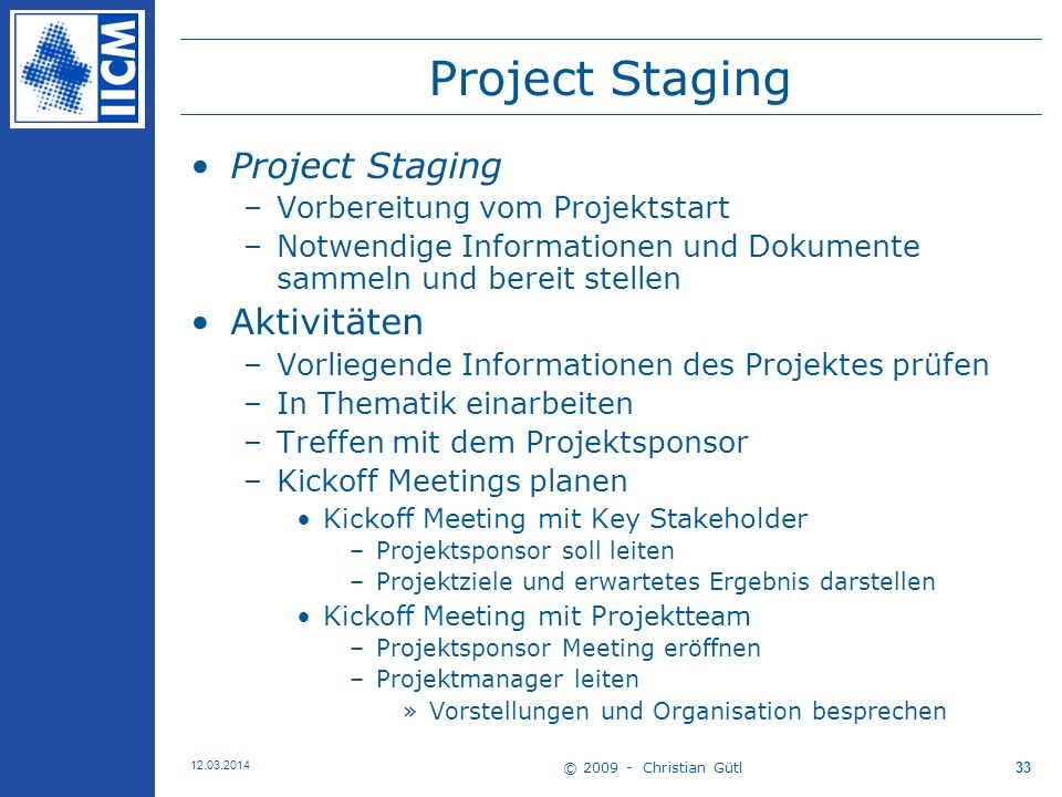 Project Staging Project Staging Aktivitäten