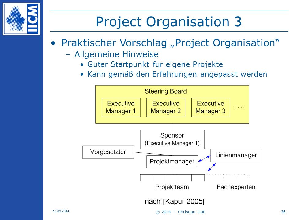 "Project Organisation 3 Praktischer Vorschlag ""Project Organisation"