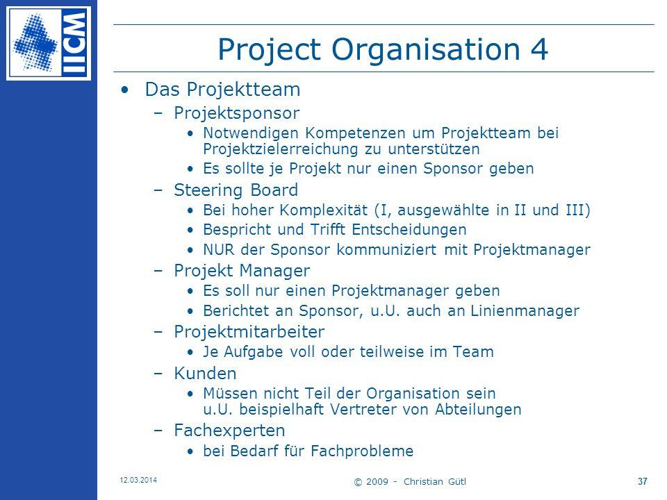Project Organisation 4 Das Projektteam Projektsponsor Steering Board
