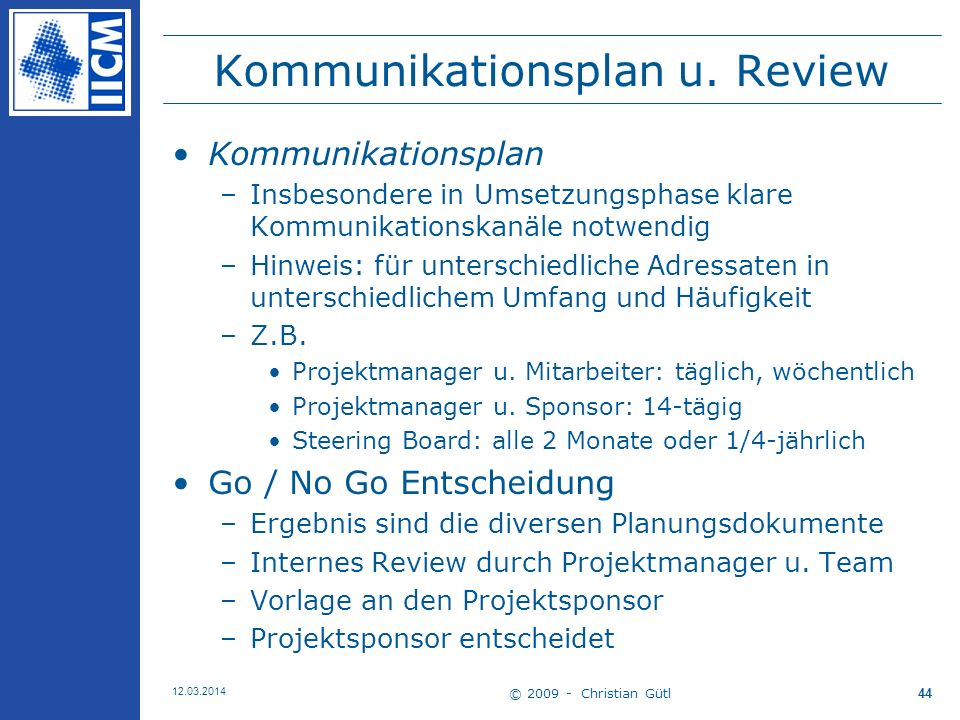 Kommunikationsplan u. Review