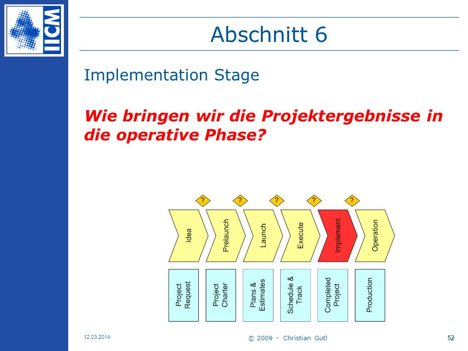 Abschnitt 6 Implementation Stage