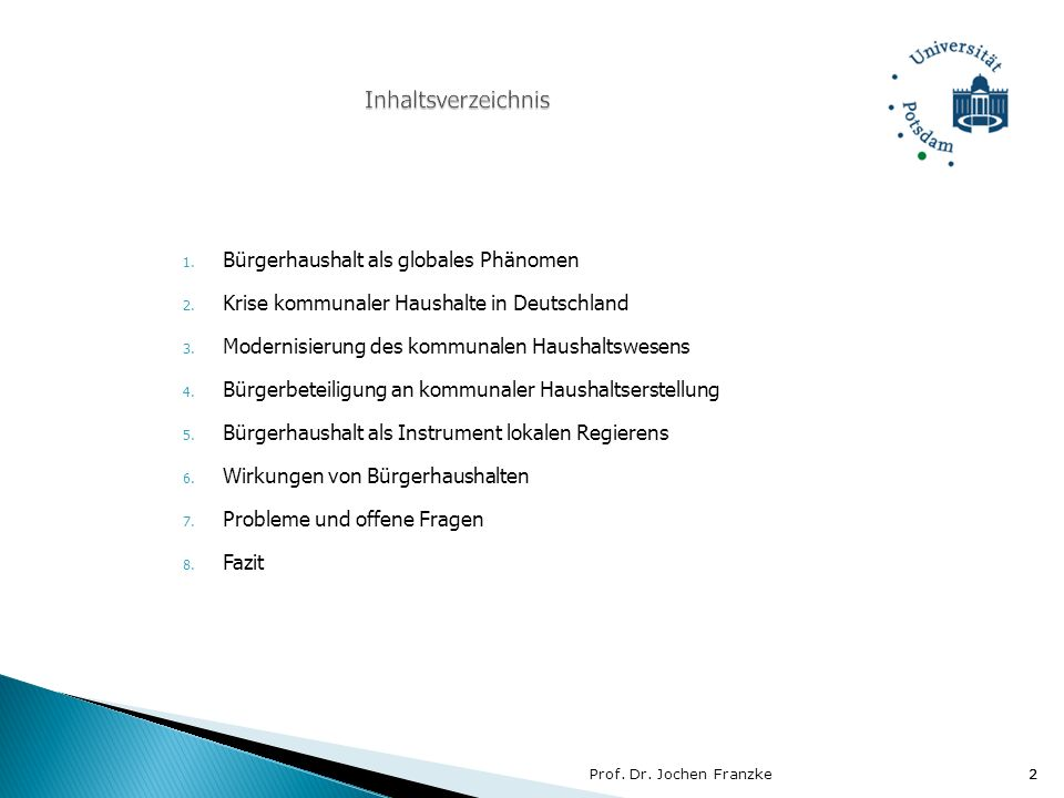 Inhaltsverzeichnis Bürgerhaushalt als globales Phänomen
