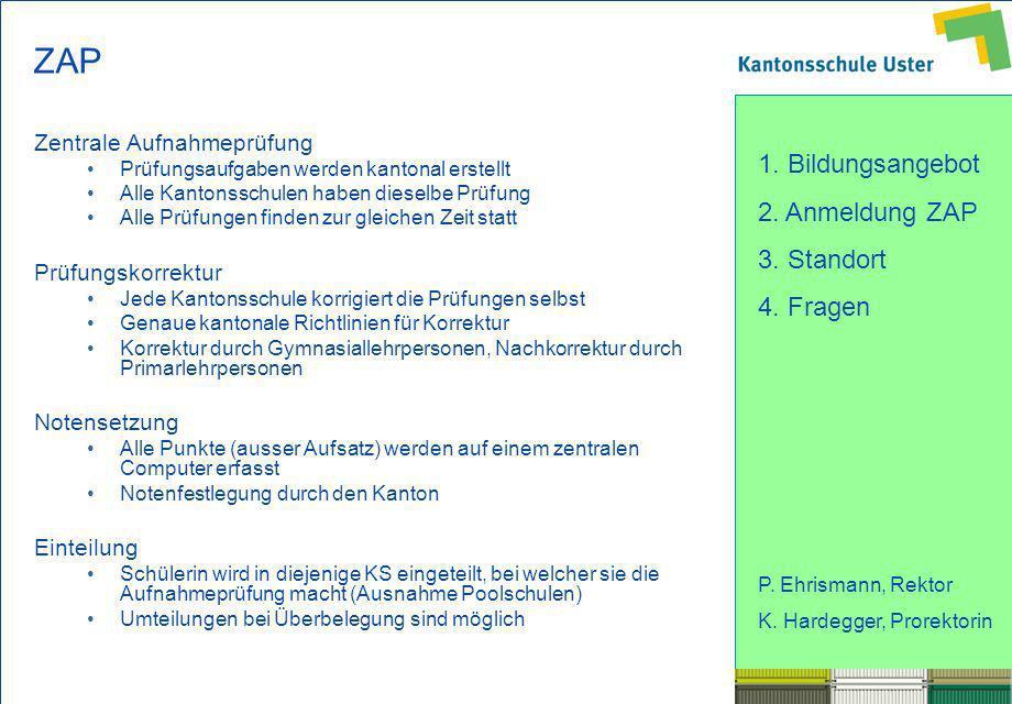ZAP Zentrale Aufnahmeprüfung Prüfungskorrektur Notensetzung Einteilung