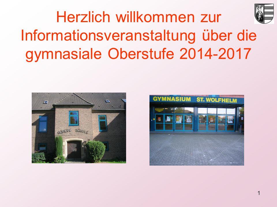 Herzlich willkommen zur Informationsveranstaltung über die gymnasiale Oberstufe 2014-2017