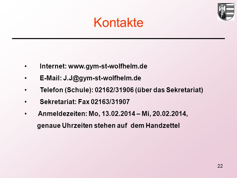 Kontakte Internet: www.gym-st-wolfhelm.de