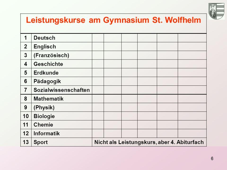 Leistungskurse am Gymnasium St. Wolfhelm