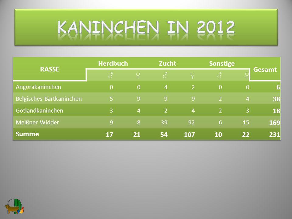 Kaninchen in 2012 RASSE Herdbuch Zucht Sonstige Gesamt 6 38 18 169