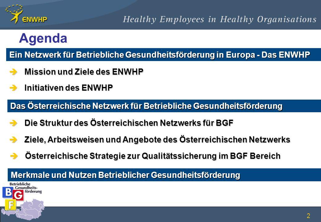 Agenda Ein Netzwerk für Betriebliche Gesundheitsförderung in Europa - Das ENWHP. Mission und Ziele des ENWHP.