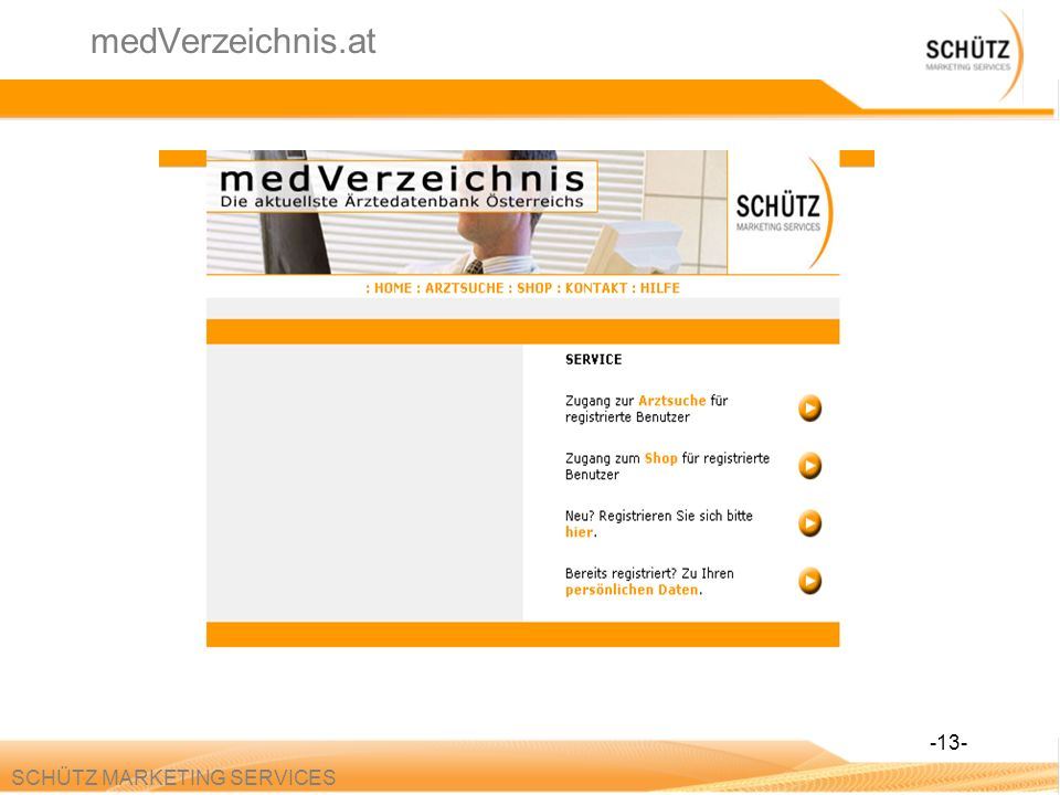 medVerzeichnis.at -13- SCHÜTZ MARKETING SERVICES
