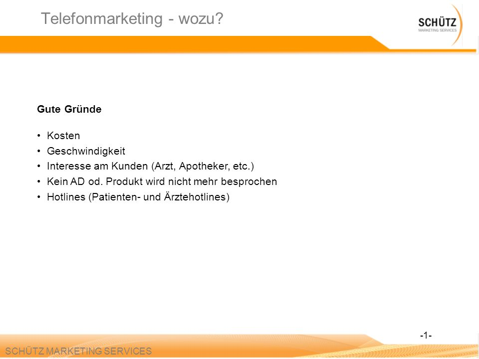 Telefonmarketing - wozu