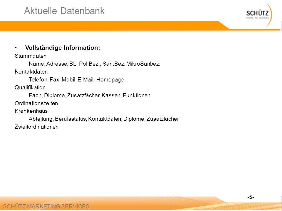 Aktuelle Datenbank Vollständige Information: Stammdaten