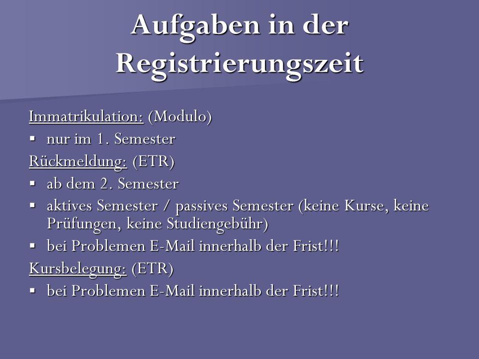 Aufgaben in der Registrierungszeit