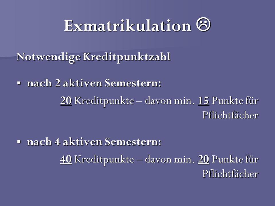 Exmatrikulation  Notwendige Kreditpunktzahl nach 2 aktiven Semestern: