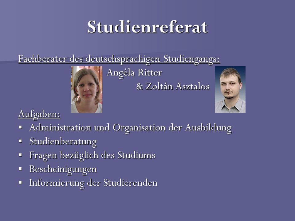 Studienreferat Fachberater des deutschsprachigen Studiengangs: