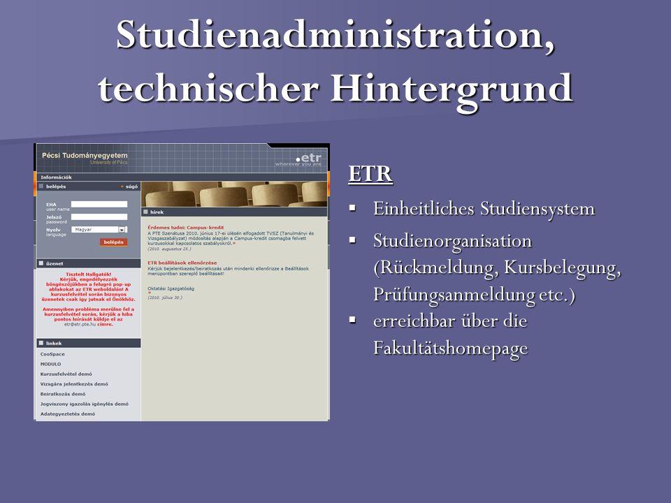 Studienadministration, technischer Hintergrund