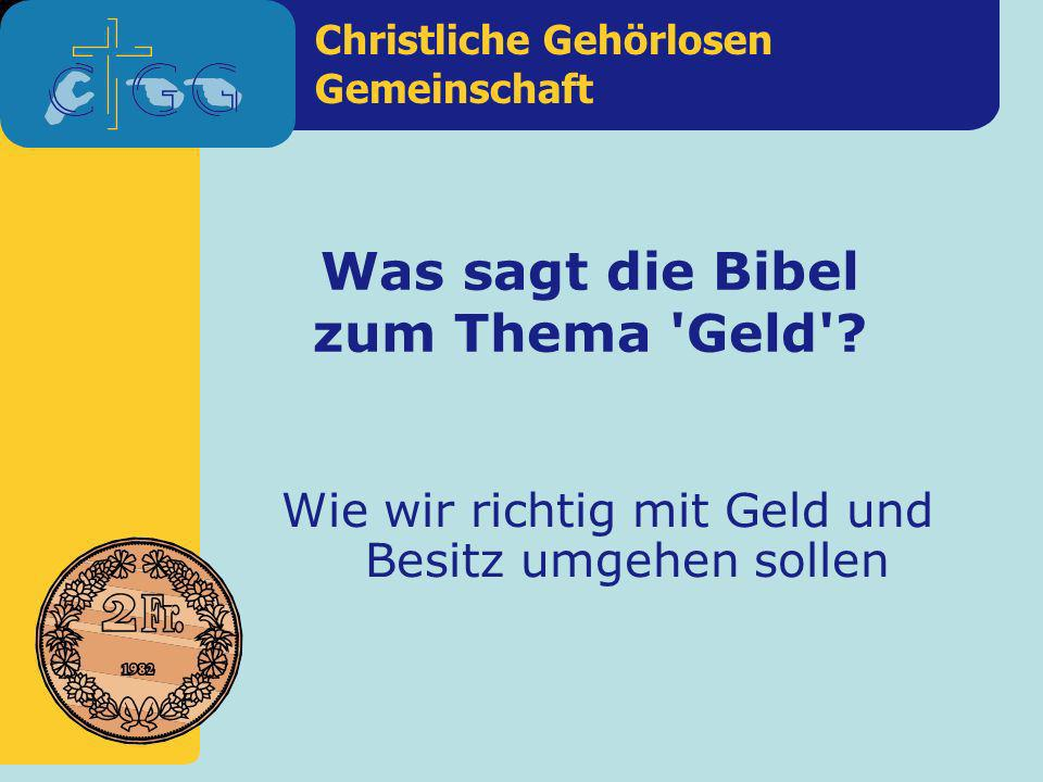 Was sagt die Bibel zum Thema Geld