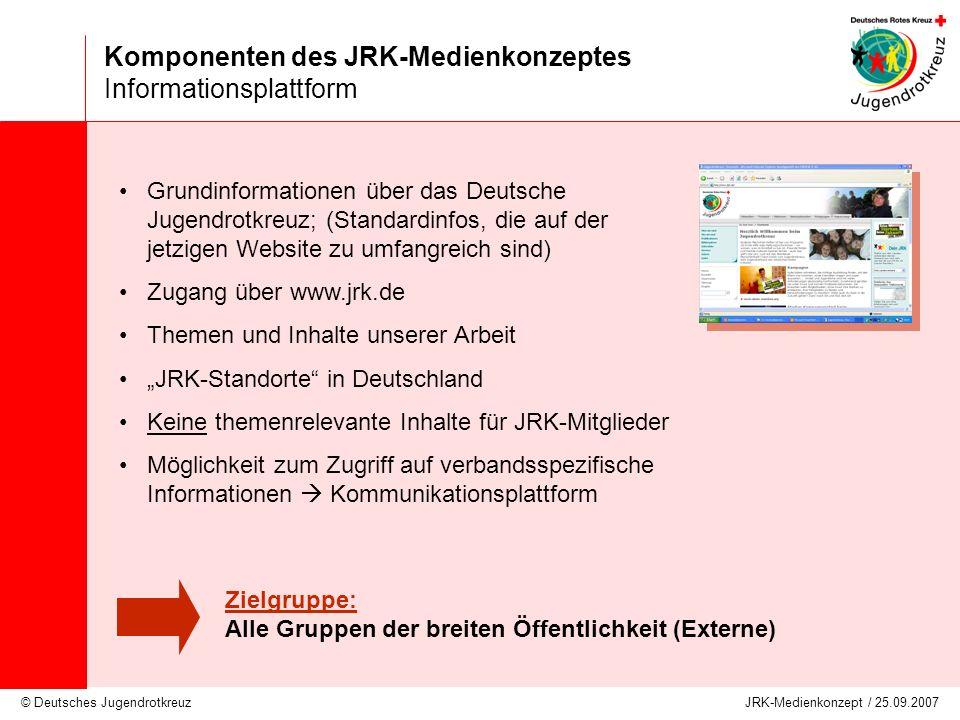 Komponenten des JRK-Medienkonzeptes Informationsplattform