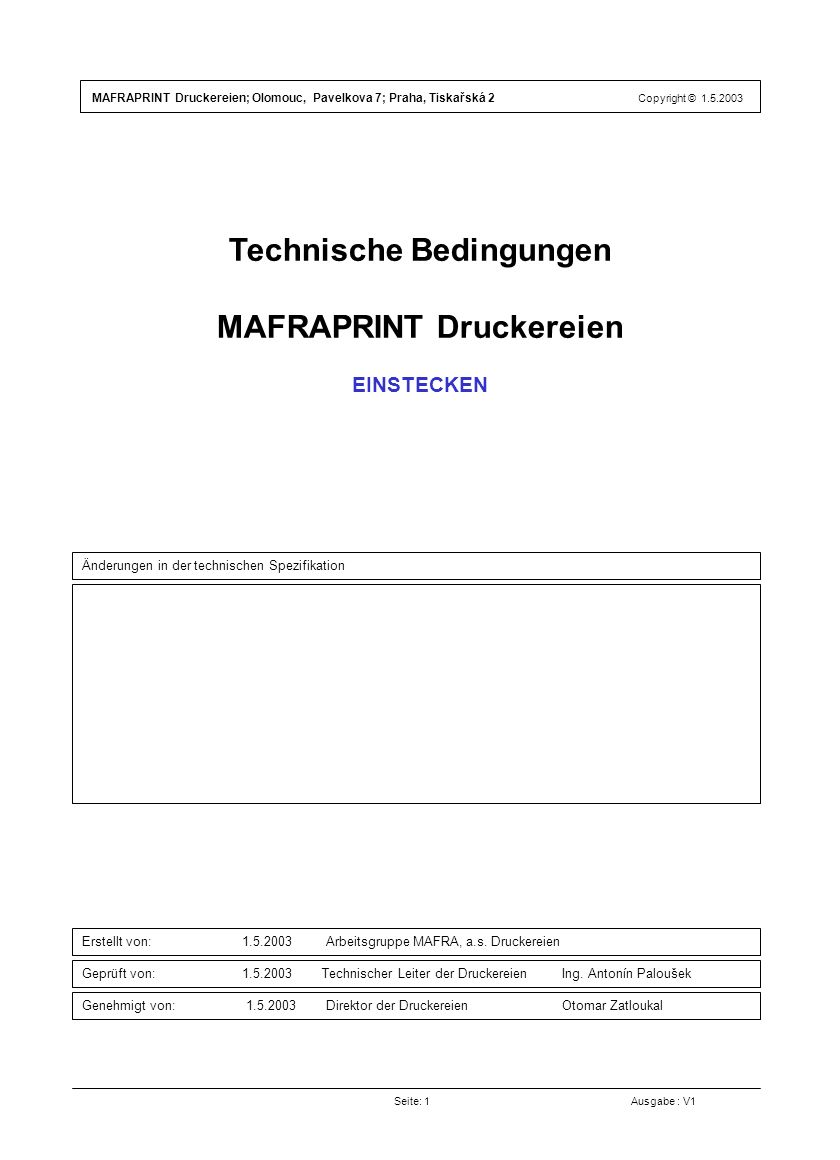 Technische Bedingungen MAFRAPRINT Druckereien