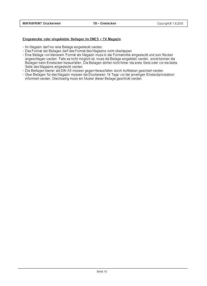 Eingesteckte oder eingeklebte Beilagen im DNES + TV Magazin