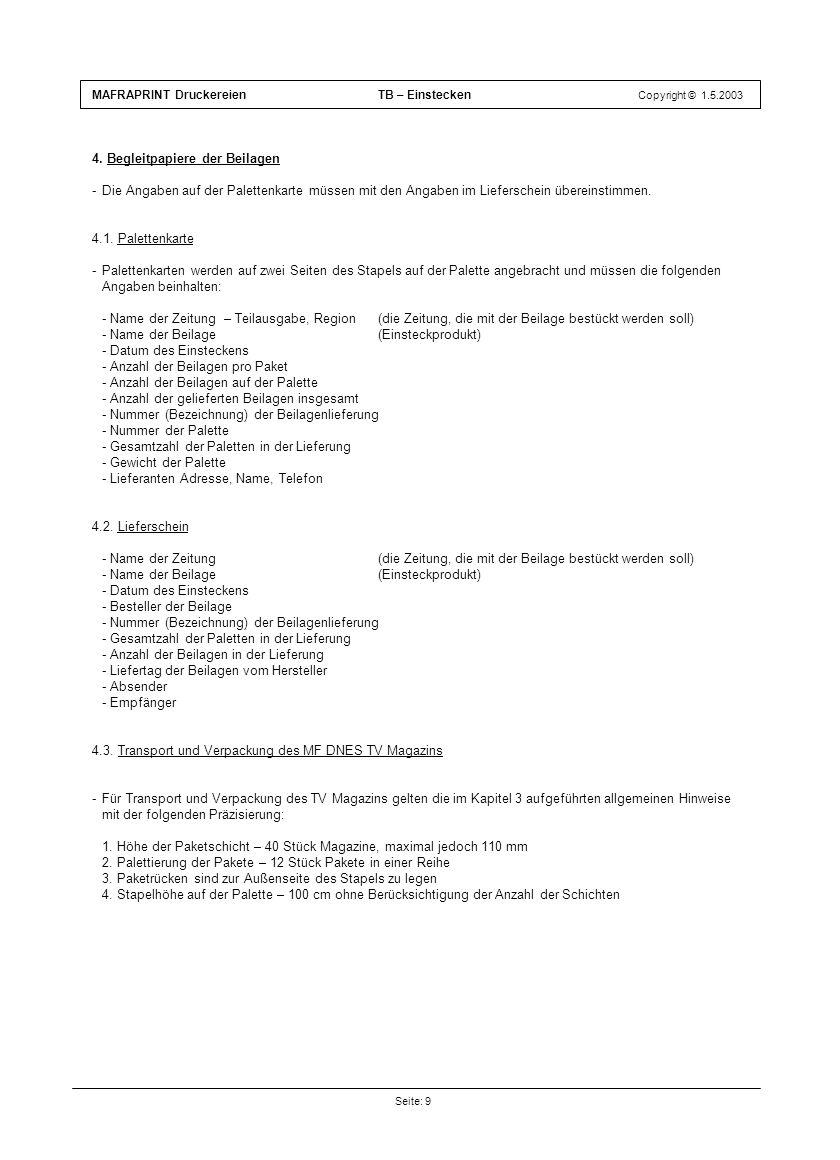 4. Begleitpapiere der Beilagen