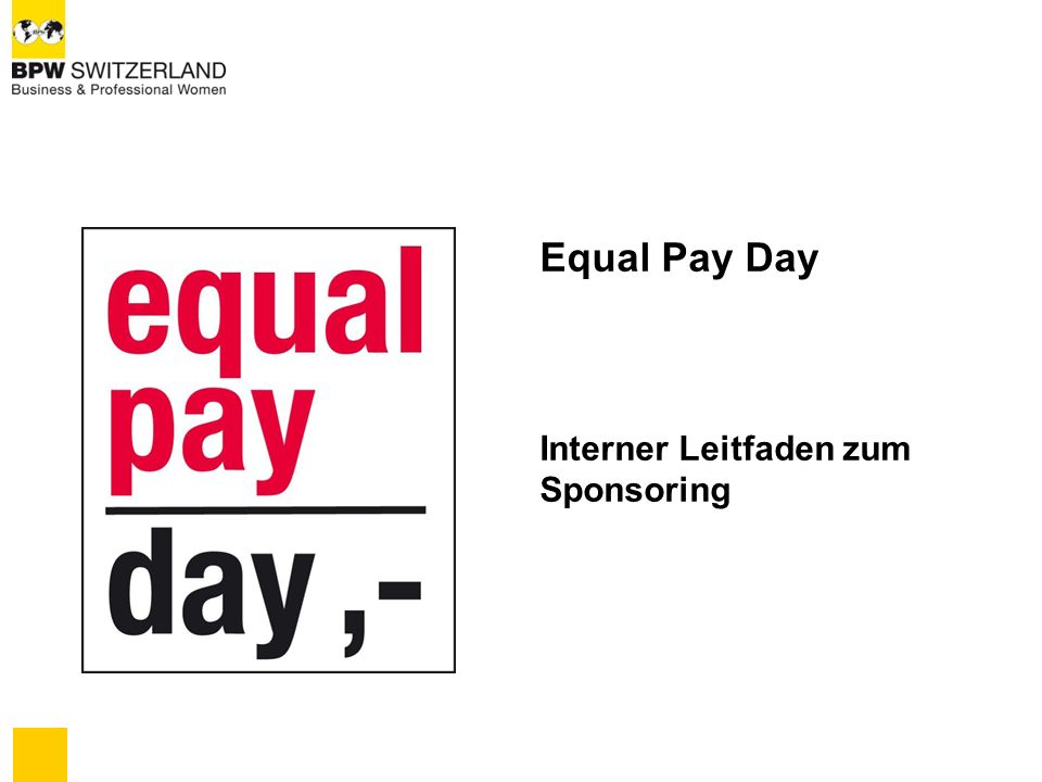 Equal Pay Day Interner Leitfaden zum Sponsoring