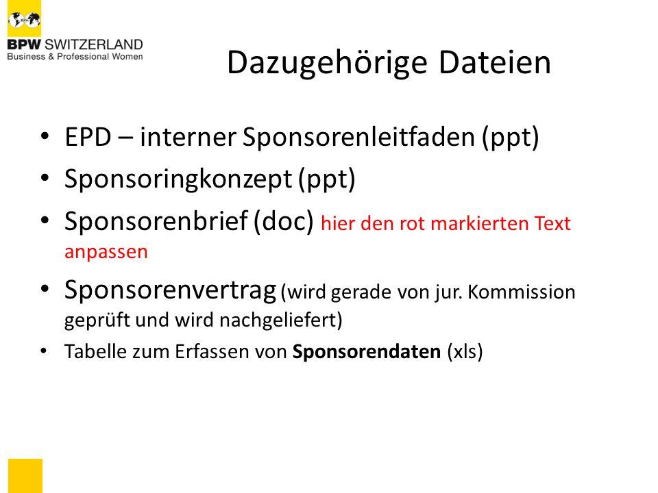 Dazugehörige Dateien EPD – interner Sponsorenleitfaden (ppt)