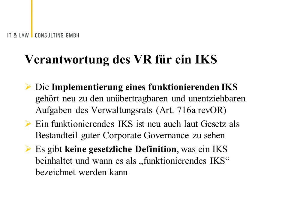 Verantwortung des VR für ein IKS