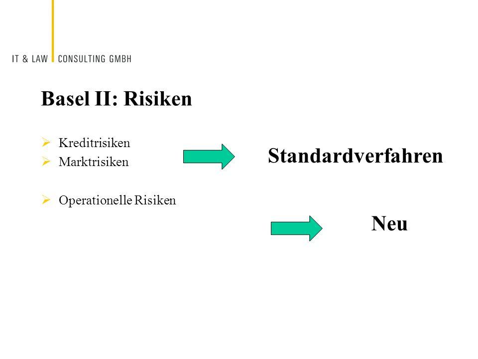Basel II: Risiken Standardverfahren Neu Kreditrisiken Marktrisiken