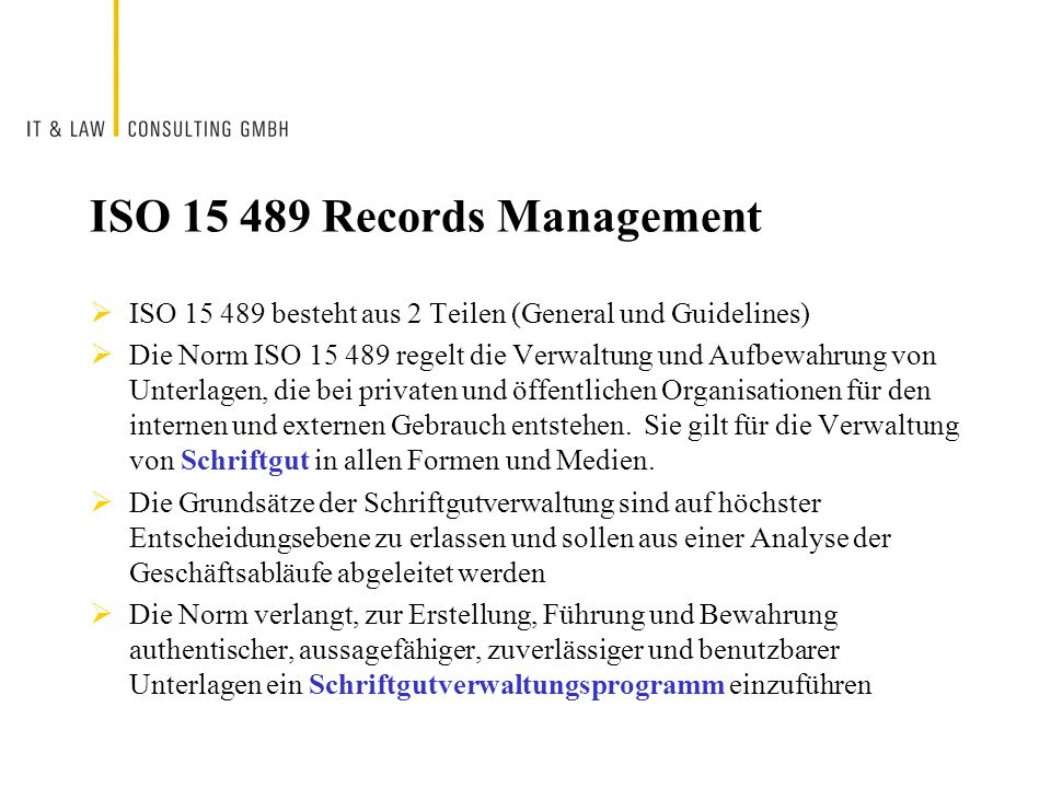 ISO 15 489 Records Management