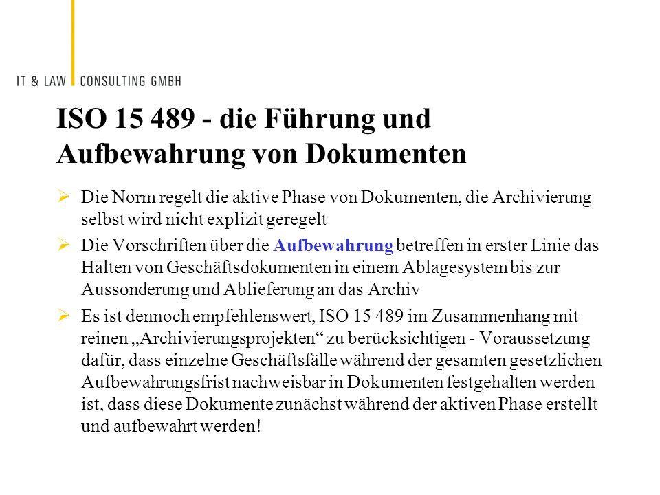 ISO 15 489 - die Führung und Aufbewahrung von Dokumenten