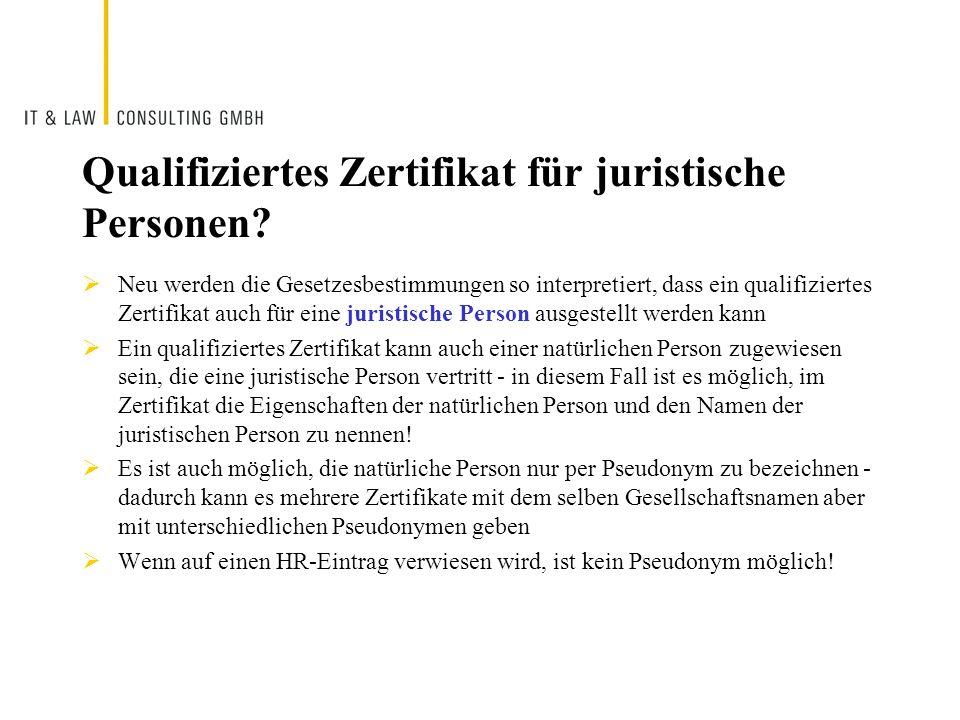Qualifiziertes Zertifikat für juristische Personen