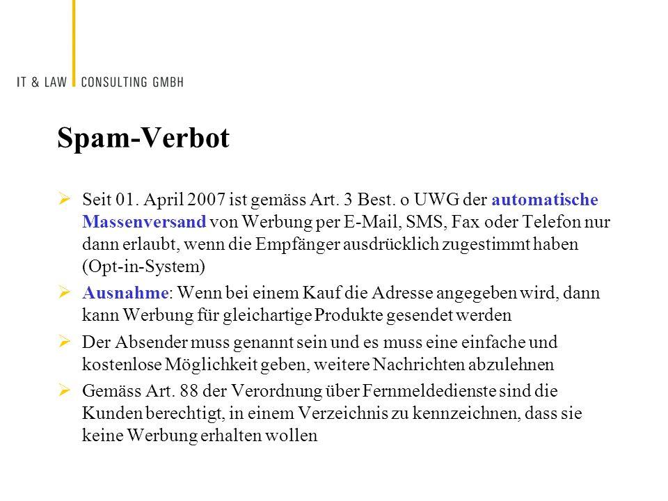 Spam-Verbot