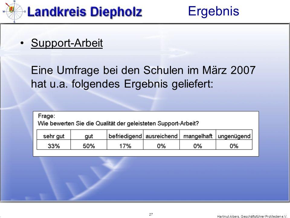 Ergebnis Support-Arbeit Eine Umfrage bei den Schulen im März 2007 hat u.a. folgendes Ergebnis geliefert: