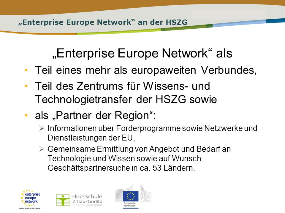 """Enterprise Europe Network an der HSZG"