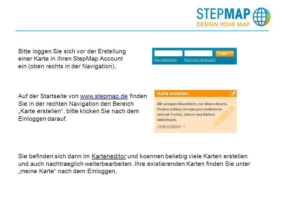 Bitte loggen Sie sich vor der Erstellung einer Karte in Ihren StepMap Account