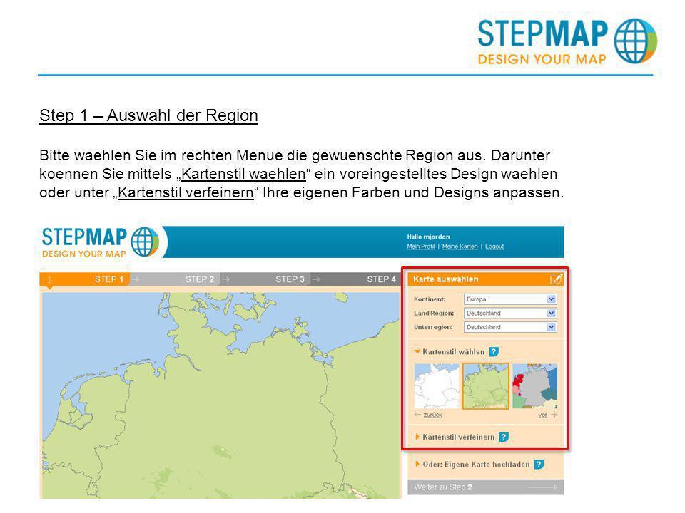 Step 1 – Auswahl der Region