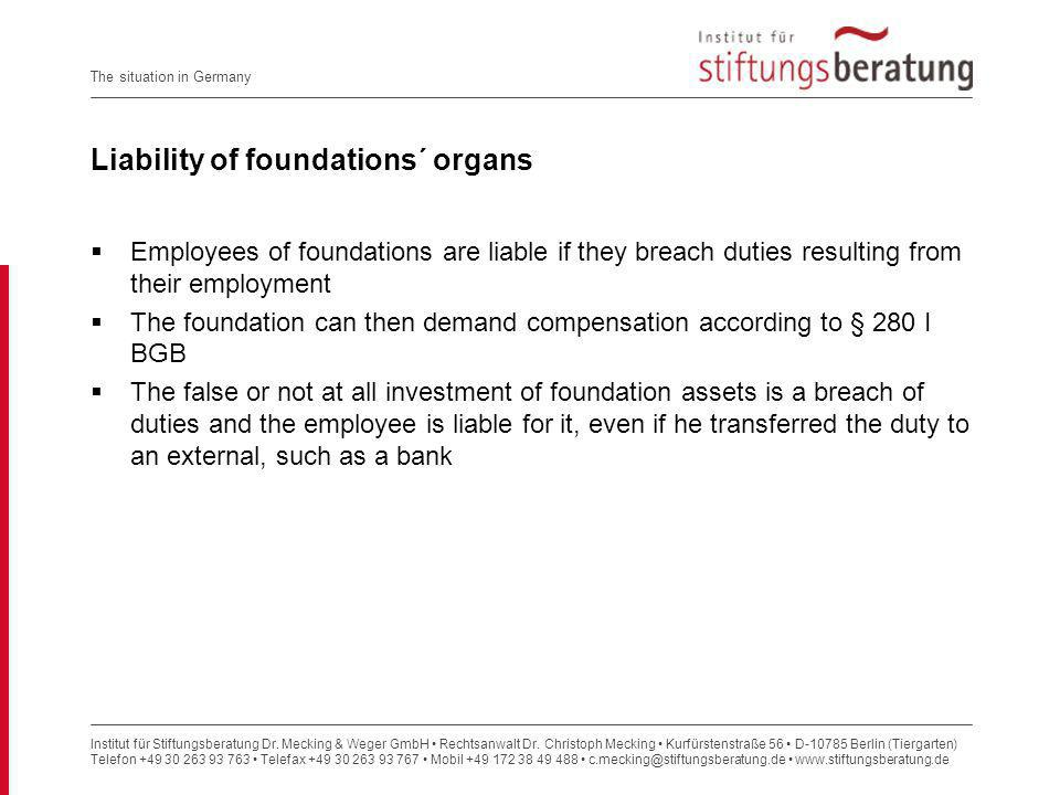 Liability of foundations´ organs