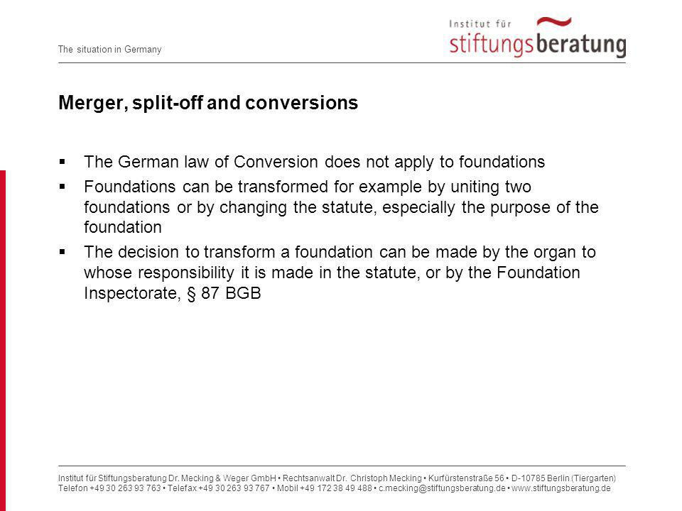 Merger, split-off and conversions