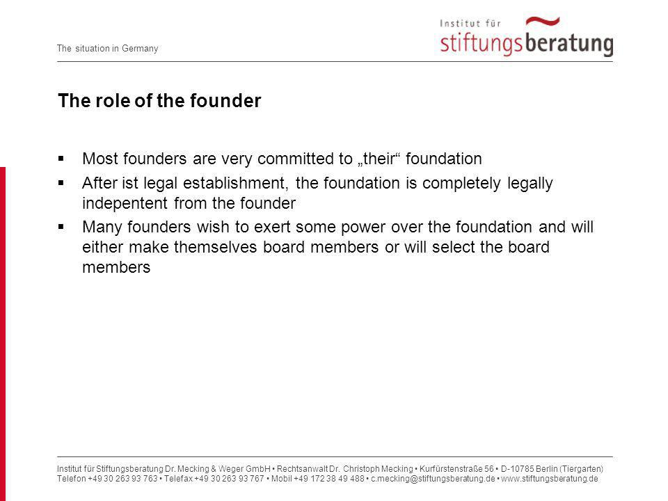 "The role of the founder Most founders are very committed to ""their foundation."