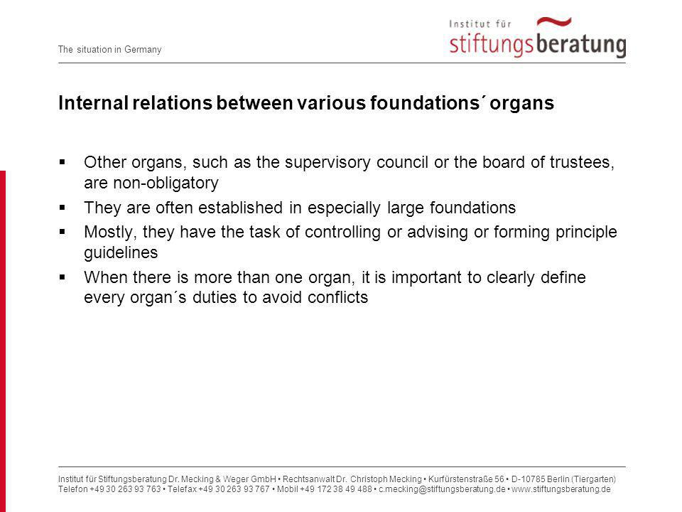 Internal relations between various foundations´ organs