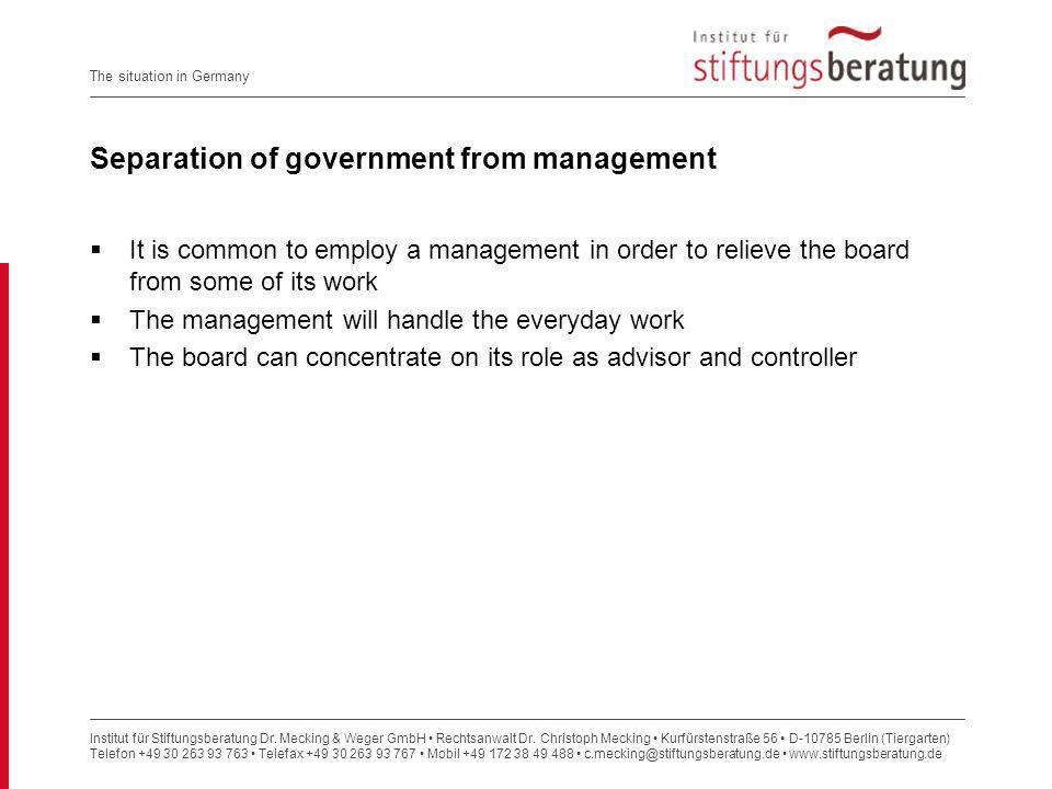 Separation of government from management