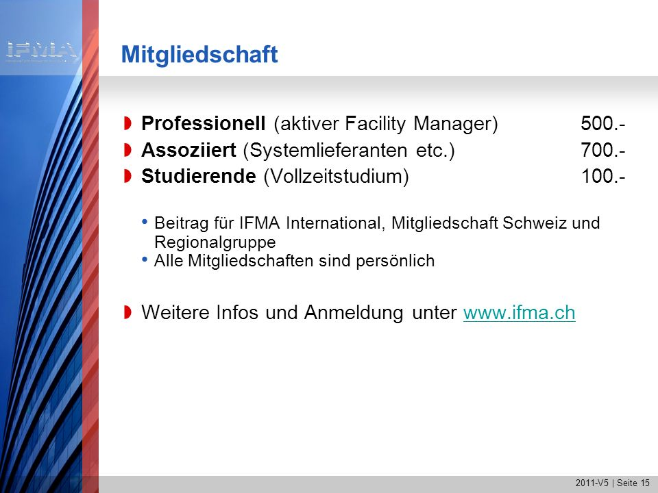 Mitgliedschaft Professionell (aktiver Facility Manager) 500.-