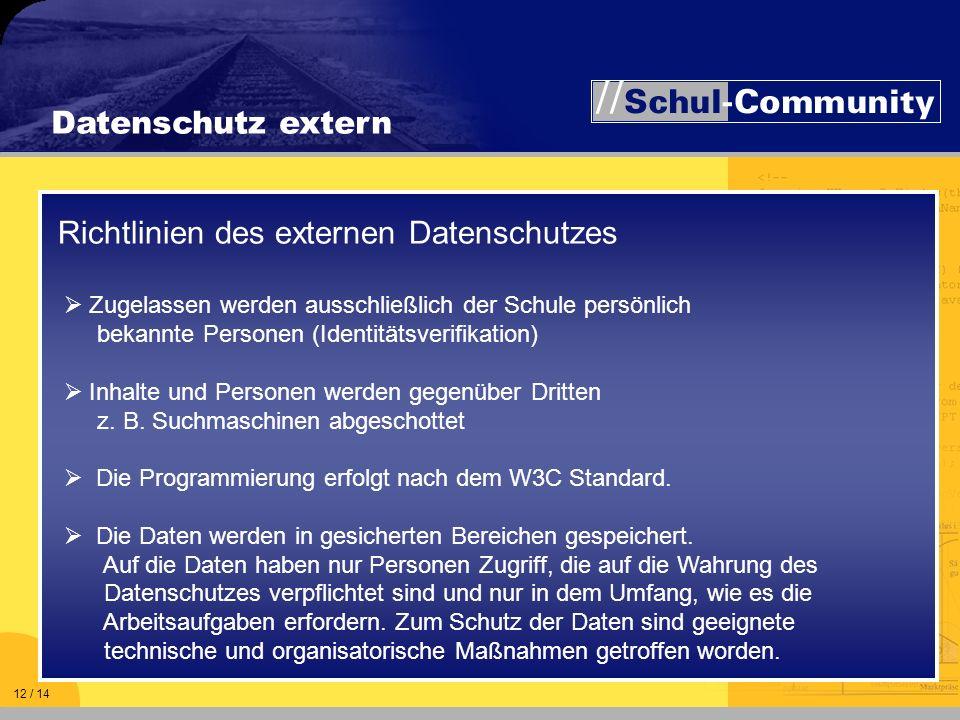 Richtlinien des externen Datenschutzes