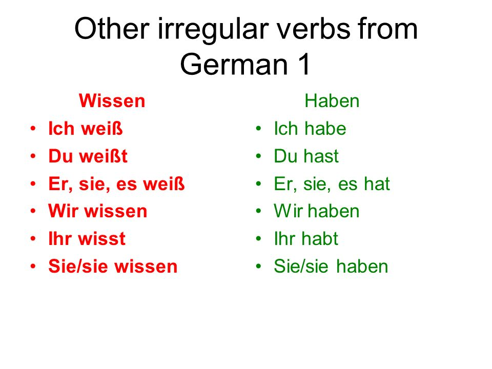 Other irregular verbs from German 1
