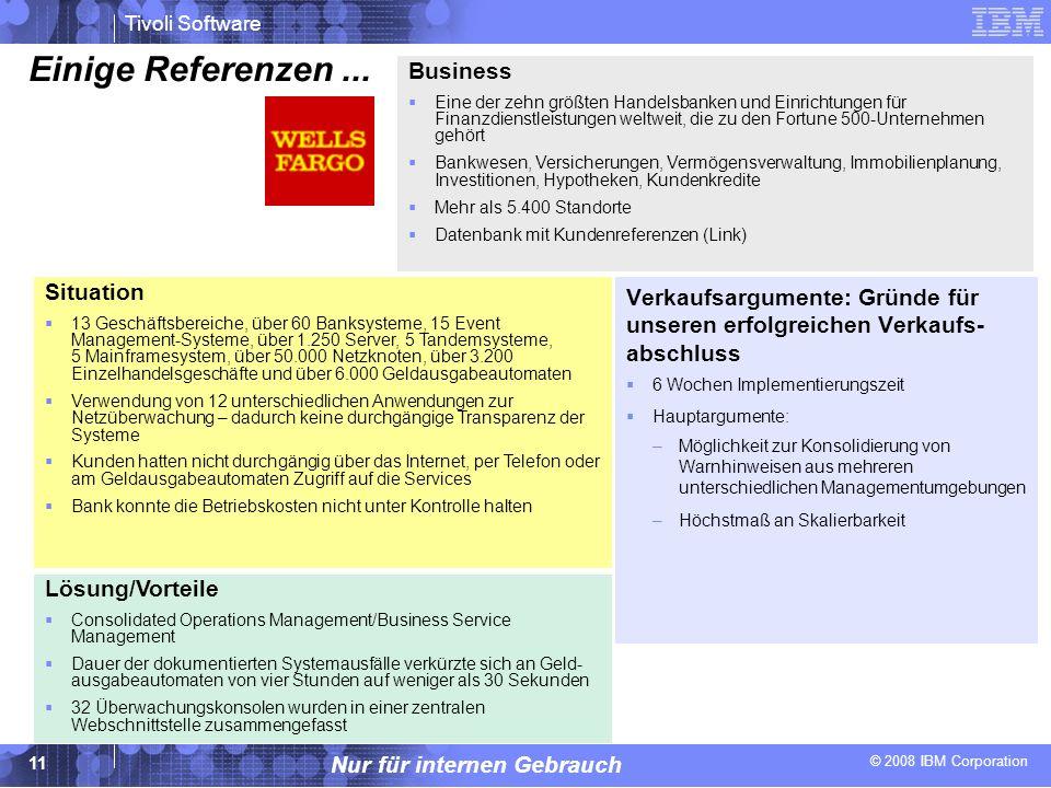 Einige Referenzen ... Business Situation Verkaufsargumente: Gründe für