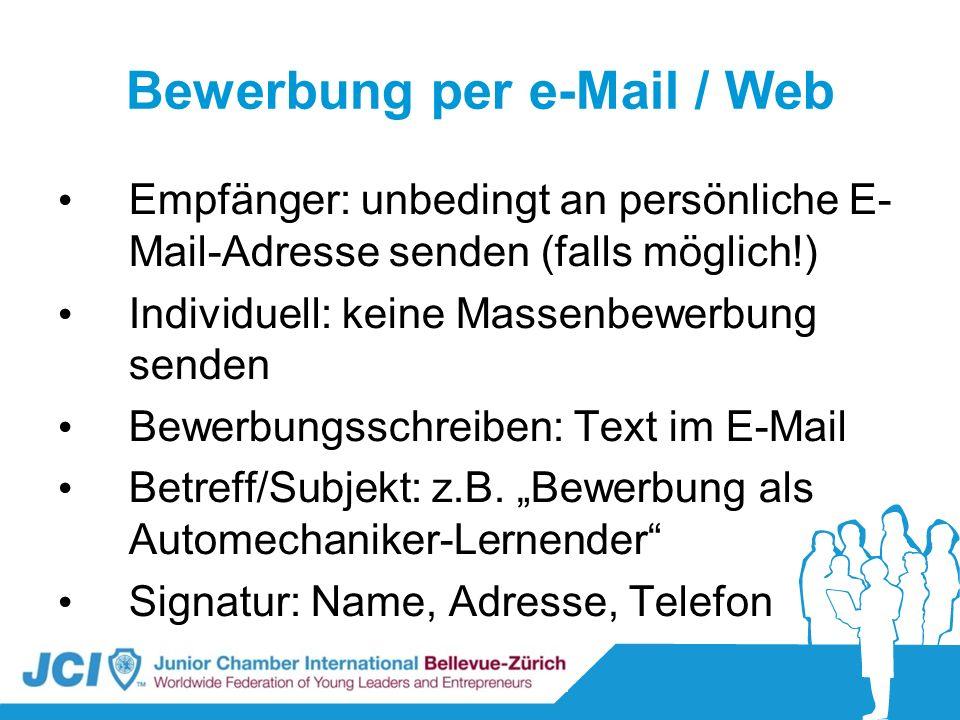 Bewerbung per e-Mail / Web