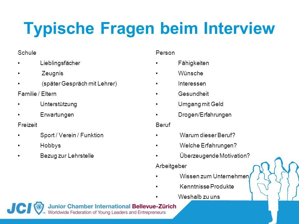 Typische Fragen beim Interview